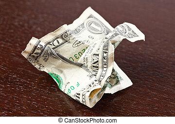 arrugado, dólar