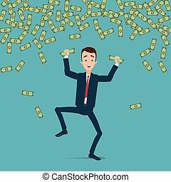 arrugado, dinero, saltos, manos, dinero., lluvia, bailes,...