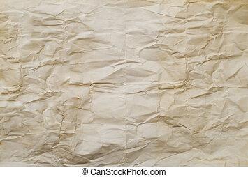 arrugado, papel, viejo