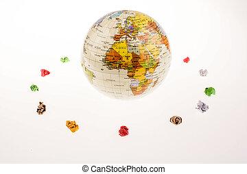 arrugado, papeles, forma, un, redondo, forma, alrededor, un, globo