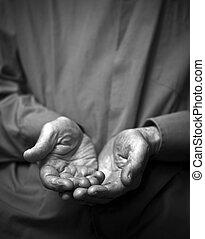 arrugado, poverty., viejo, vacío, manos