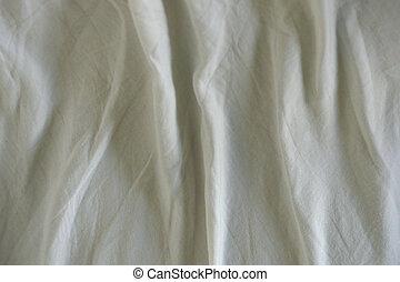 arrugado, tela, blanco