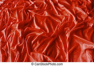 arrugado, tela, rojo