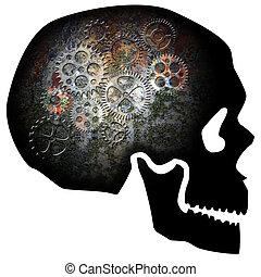 arrugginito, ingranaggi, illustrazione, cranio
