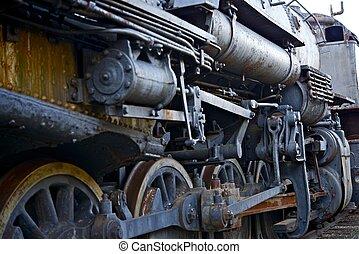 arruinado, locomotiva, vapor