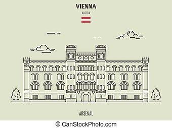 arsenall, en, viena, austria., señal, icono