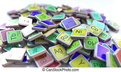 Arsenic As block on the pile of periodic table of the chemical elements blocks. Chemistry related intro animation