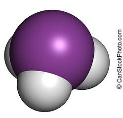 Arsine toxic gas molecule. Arsine is a volatile arsenic...