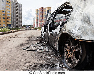 Arson fire burnt wheel car vehicle junk - Road wreck...