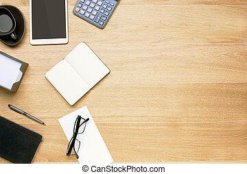 artículos, cima, escritorio de oficina