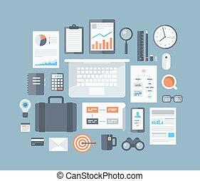 artículos, conjunto, plano, iconos del negocio
