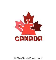 artículos del rompecabezas, hoja, arce, canadiense