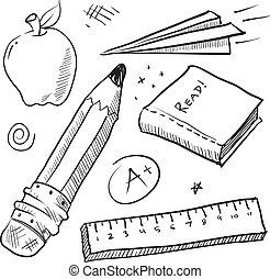 artículos, escuela, espalda, bosquejo
