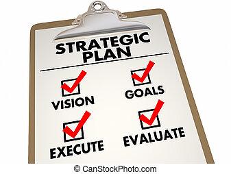artículos, estratégico, lista de verificación, acción, plan...