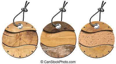 artículos, grunge, 3, circular, etiquetas, de madera, -, conjunto