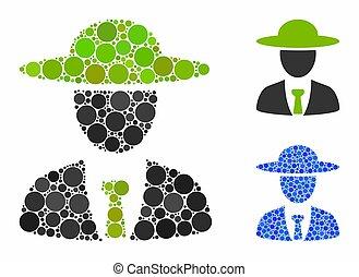 artículos, icono, spheric, jefe, agronomist, mosaico