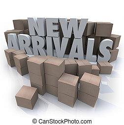 artículos, llegadas, cajas, productos, nuevo, cartón, ...
