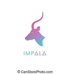 artístico, estilizado, antílope, logotype.