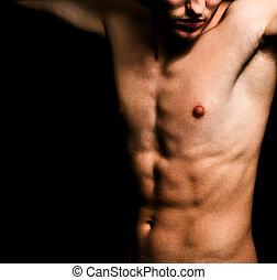 artístico, imagen, de, muscular, sexy, hombre, cuerpo