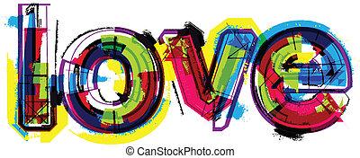 artístico, palabra, amor