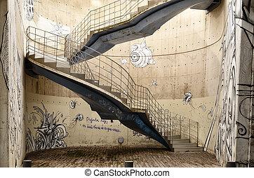 artístico, plano de fondo, con, graffitis, y, escaleras