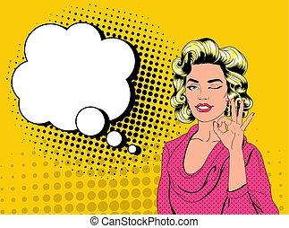 art, épingle, bubble., pop, signe, comique, girl, ok., banner., vendange, parole, joli, blond, joyeux, femme, cligner, affiche, projection, illustration, affiche, haut, vecteur, publicité