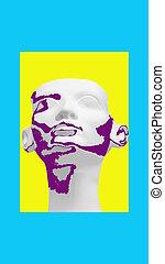art., 顔, ウイルス, 世界, 美しさ, 紫色, 概念, 現代, エジプト人, pandemic., コラージュ, covid-19, 黄色, 彫刻, 背景, ファラオ, 白, pattern., 女, 王冠