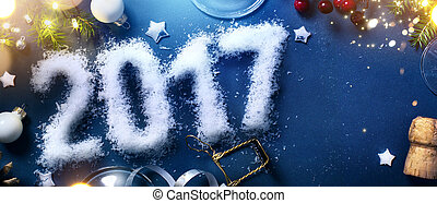 art 2017 happy new years eve; Party background; Top view with copy space for your text