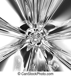 Art Abstract Chrome Background. Hyper Zoom Liquid Reflective Monochrome Backdrop in Black, Grey and White Colors. Fluid Glas Abstraction. Computer Art Illustration