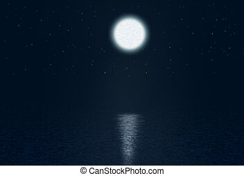 Art Abstract night background with moon and stars over the...