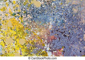art abstrait, arrière-plan., peinture huile, sur, canevas., bleu, et, jaune