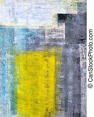 art abstrait, gris, jaune, sarcelle