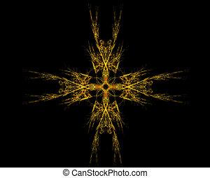 art abstrait, objet, fractal, doré, étoile