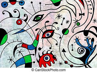 art abstrait, oiseaux, peinture, fantastique