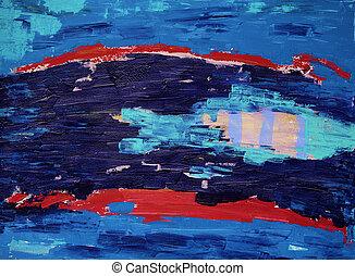 art abstrait, peinture, à, fish