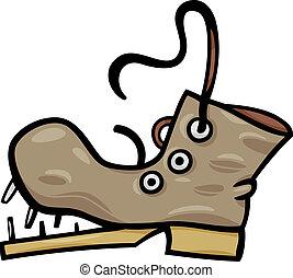 art, agrafe, botte, dessin animé, chaussure, vieux, ou
