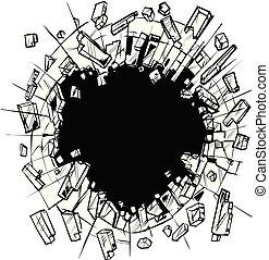 art, agrafe, briser, verre, vecteur, trou
