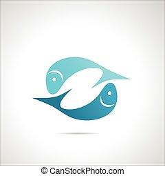 art, agrafe, fish, élément, icône, silhouette, signe, symbole
