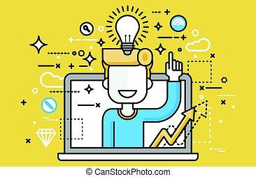 art, aide, démarrage, idée, haut, conception, indice, service, lampe, doigt, au-dessus, ligne, présentation, tête, illustration affaires, ampoule, ligne, homme, lumière, solution, élément, vecteur