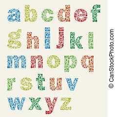 The alphabet on an art theme. A vector illustration
