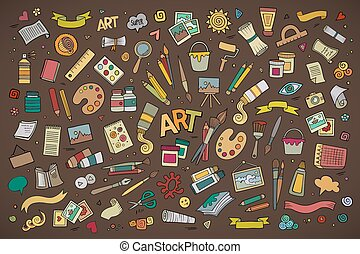 Art and craft vector symbols and objects - Art and craft ...
