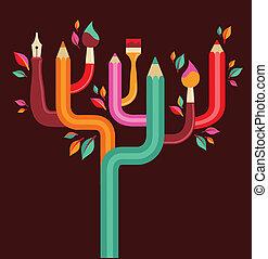 art and creation tree, concept illustration