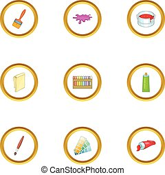 Art and drawing tools icons set, cartoon style - Art and...