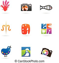 Collection of art and photo icons and logos