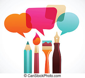 art and writing tools with speech bubles, vector on the ...