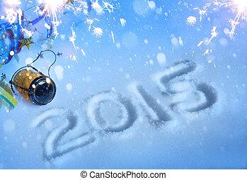 art, année, nouveau, 2015, fête, champagne