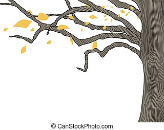 art, arbre, main, dessiné, feuilles chute, ligne