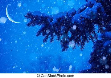 art, arbre, neige, lumières, fond, magie, noël