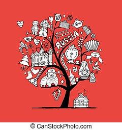 art, arbre, symboles, conception, russe, ton
