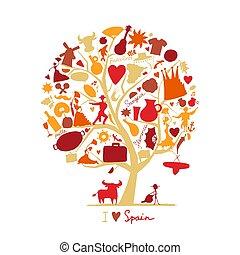 art, arbre, symboles, conception, ton, espagne